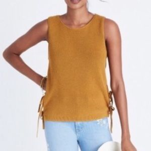 Madewell Knit tank with Side Ties Mustard Size M